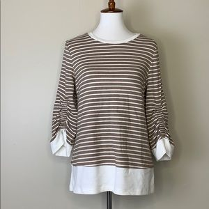 DOE & RAE Striped Tan & White Crewneck Sweater S